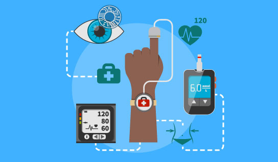 Illustration of wearable and remote monitoring devices aiding in neurodegenerative disease research