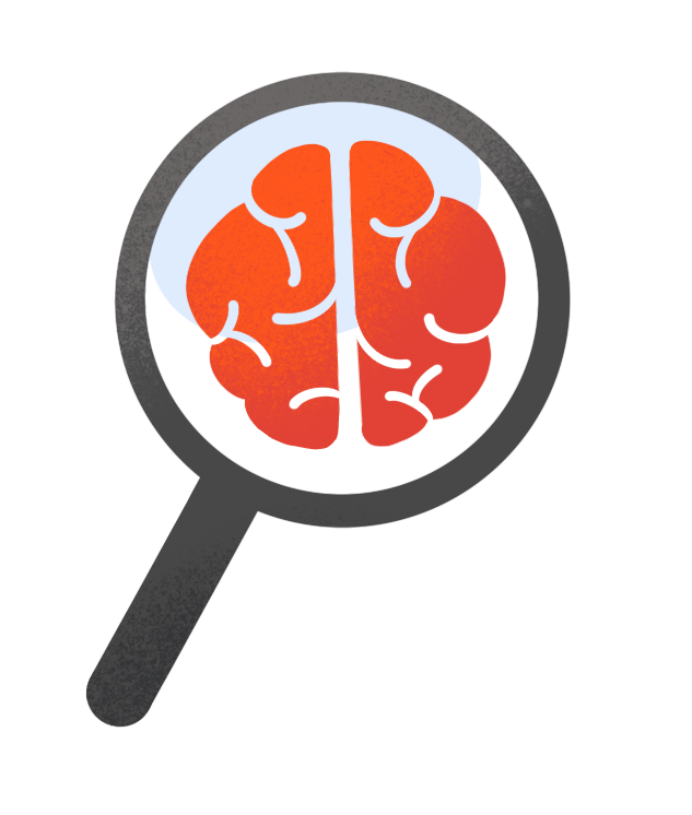 illustration of magnifying glass focusing on the brain